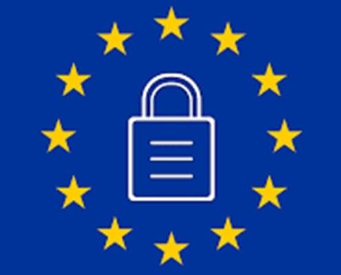 L'immagine evidenzia la bandiera dell'Europa con al centro un lucchetto a rappresentare i blocchi politici ed economici della U.E.