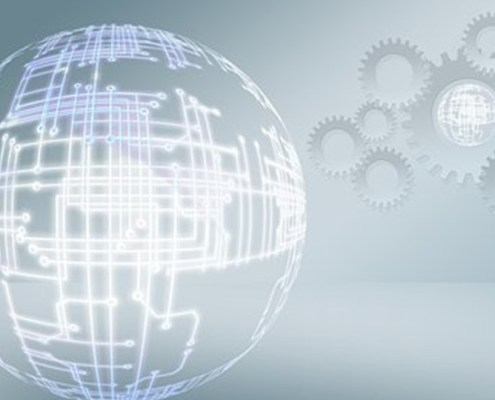 The picture highlights two electronic circuits. The first on the left is the shape of a sphere while the second on the right shows several wheels of a gear. Both images are reproduced on a nebulous background. All to represent the world of Information Technology.
