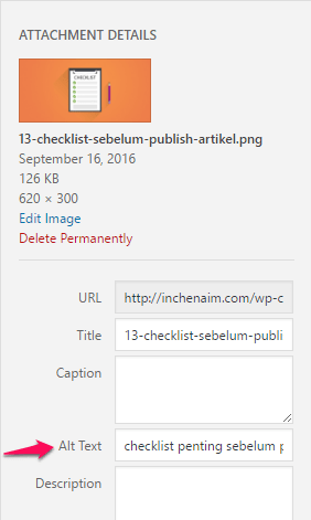 alternate text sebelum publish artikel