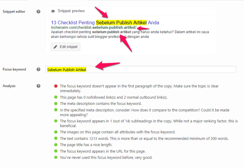 keyword focus sebelum publish artikel
