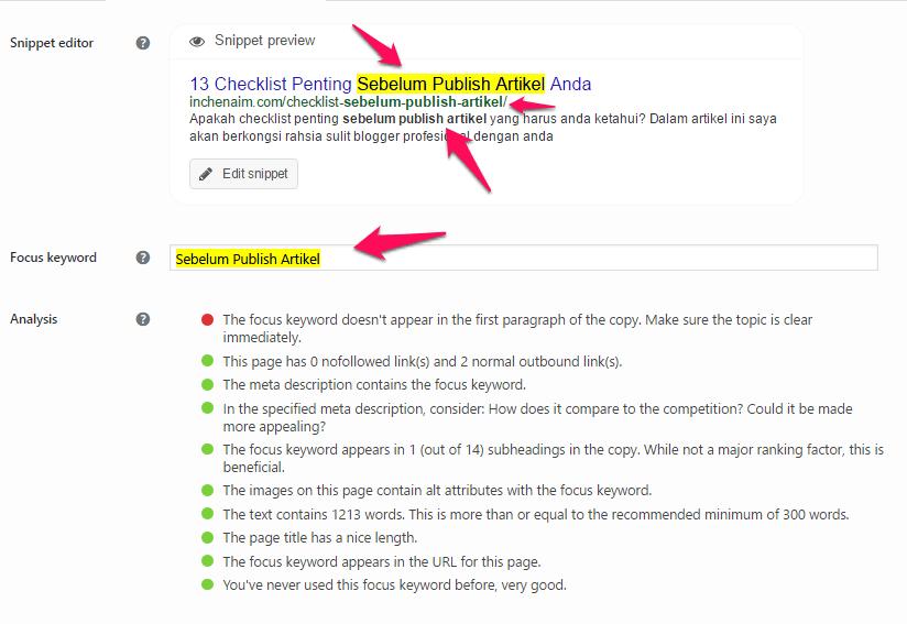 keyword focus sebelum publish artikel