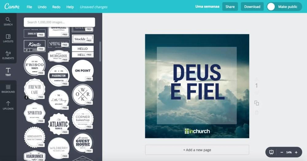Como criar e editar imagens para a igreja compartilhar canva