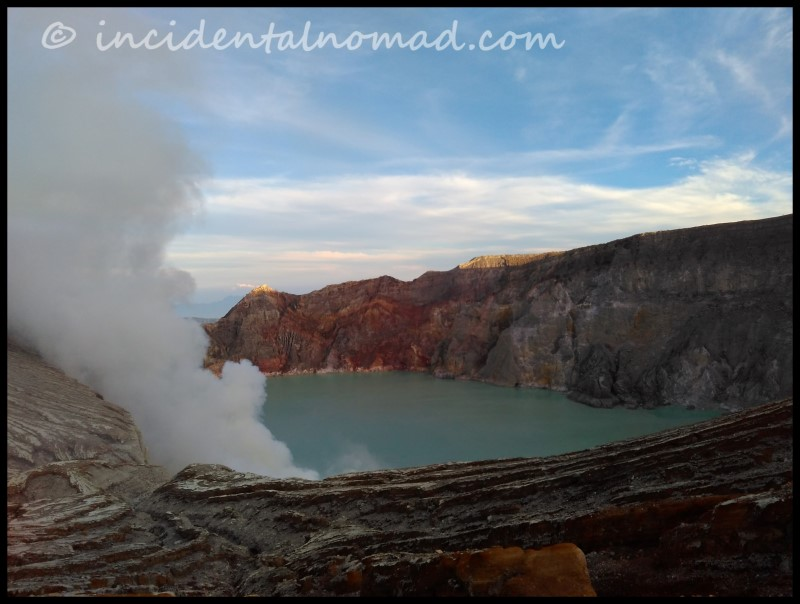 Beautiful turquoise blue lake view from Ijen Mountain