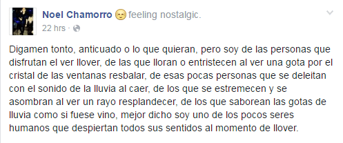 For my Spanish readers, People even wax poetic about the rain on Facebook
