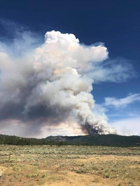 Smoke column rising above the mountains north of Sierra Valley.