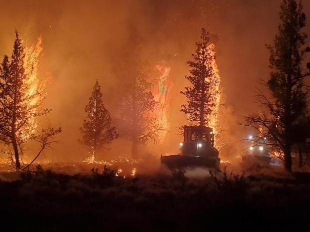 Dozers working through the night on the Grandview Fire, trees torching