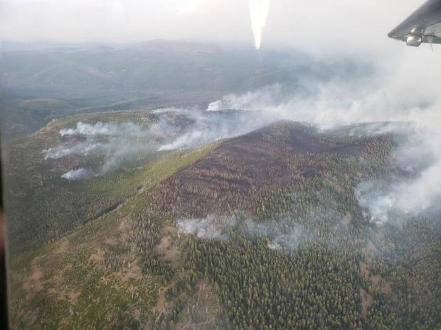 Aerial view of the 204 Cow Fire
