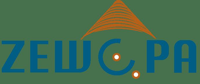 Officieel logo Zewopa inclusief wonen (turquoise letters met O als rolstoel en oranje wielen, daarbovenop oranje dak)