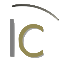 Logo with the letters I and C with a curve over representing a roof.