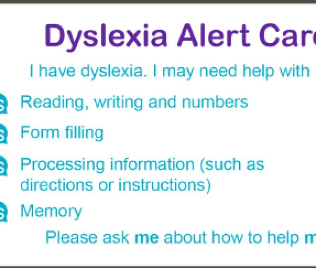 Dyslexia Alert Card