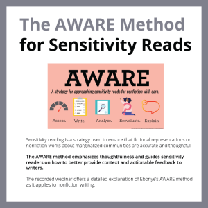 Infographic-style cover of The AWARE Method for Sensitivity Reads (recorded webinar)