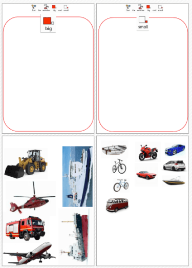 a variety of vehicles to sort worksheet