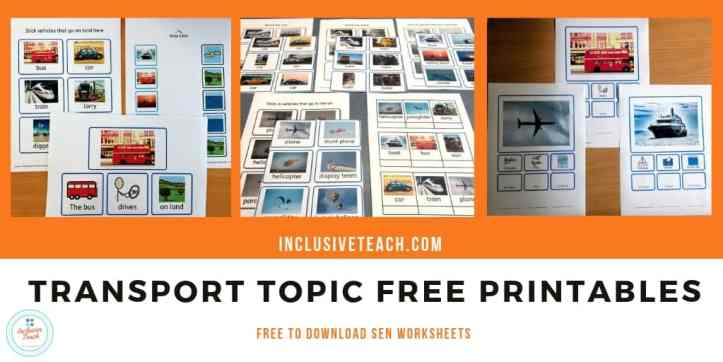 Transport Topic Free Printables SEN worksheets vehicles