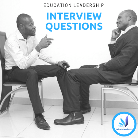 Text saying education Leadership interview questions two men talking