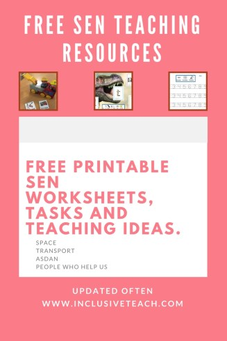 Free Printable Teaching Resources SEN Autism ASDAN SPACE