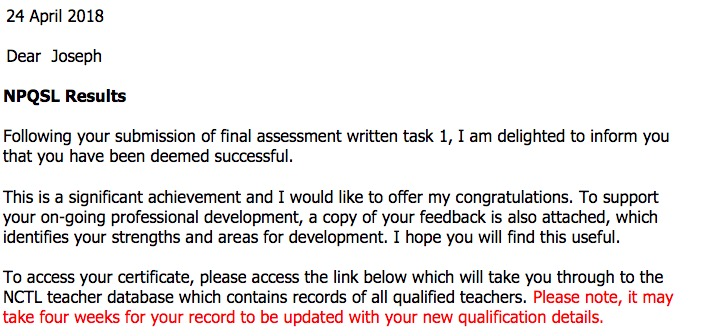 NPQSL results Letter extract