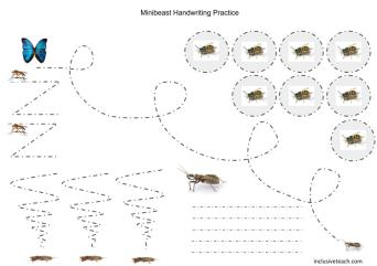 A free printbale worksheet for handwriting practice themed for minibeast topic.