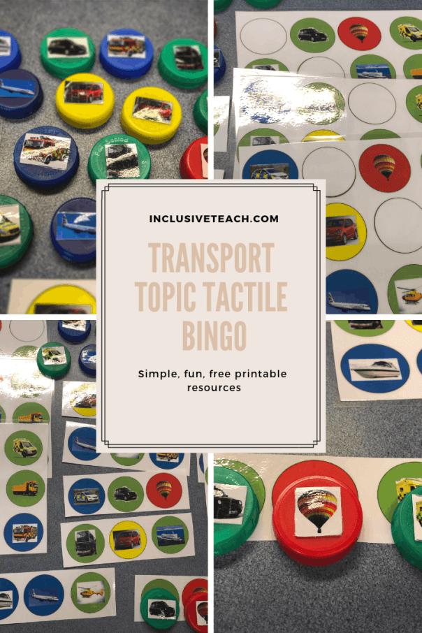 Tactile bingo game images SEN worksheets