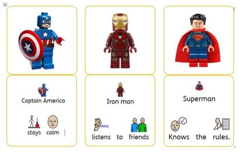 Avengers lego rule cards - social story autism behaviour