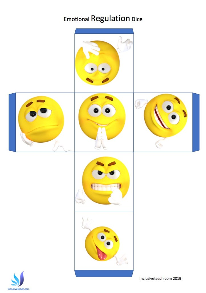 emotional regulation dice free printable emoji
