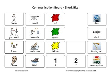 Shark bite aac game communication board symbols.