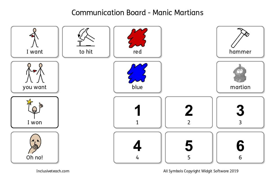 AAC communication board Mnic Martians game autism