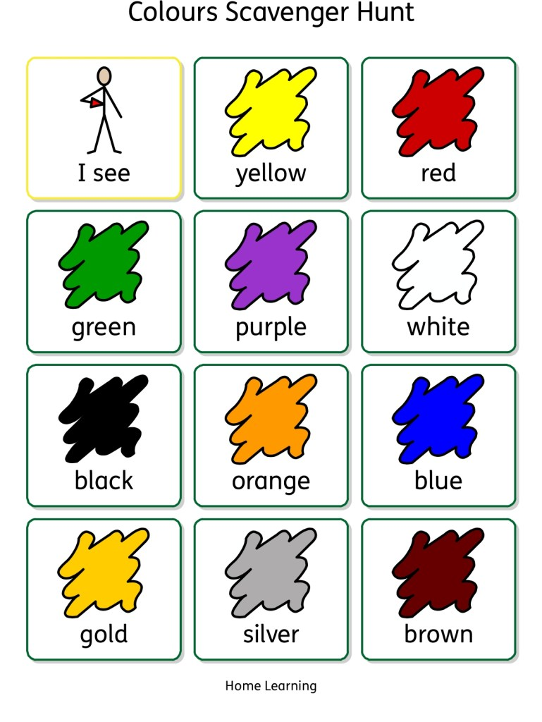 Colours scavenger hunt Home Learning worksheet AAC