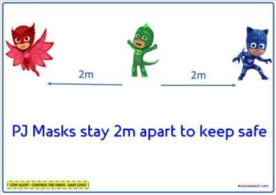 PJ Mask social distancing poster school