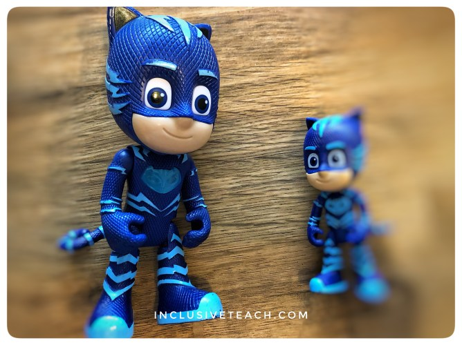 Size comparison maths activity multi sensory PJ masks