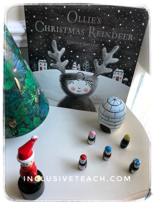 ollies christmas reindeer advent book display