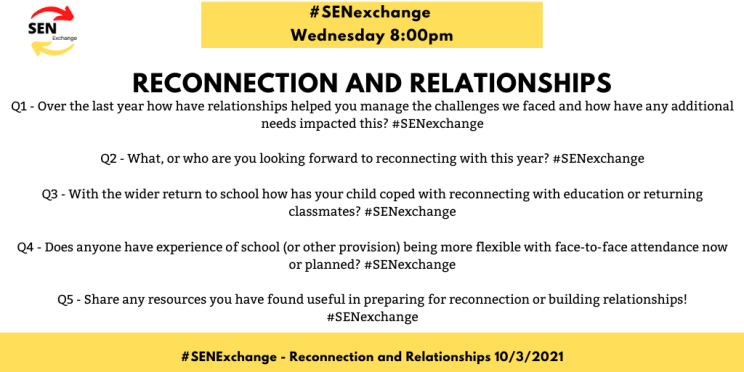 re-connection and relations #SENexchange discussion questions on school reopening.