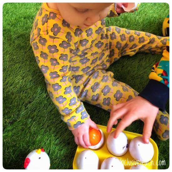 Easter egg sensory tray activity for SEN