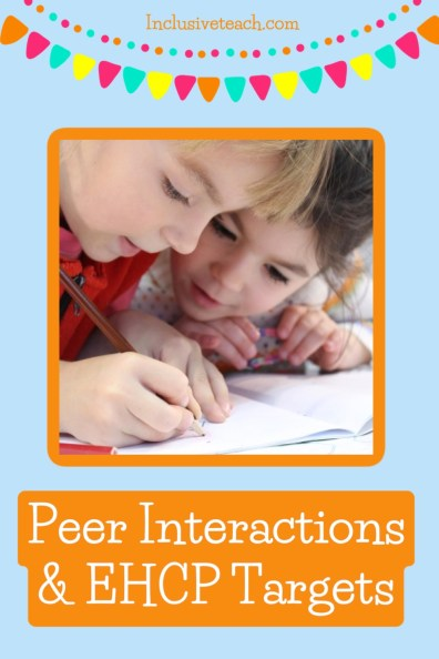 Peer interactions and ECHP targets text with image of two children writing on a blue background.