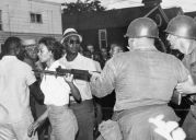 Gloria Richardson pushes a bayonet out of her face during a 1963 civil rights protest in Maryland