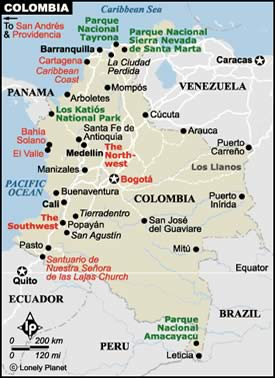 mappa sud Colombia