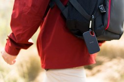 SanDisk Extreme Portable SSD Attached to a Backpack