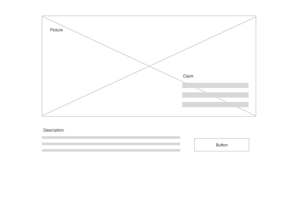 Este es un wireframe rápido de la estructura de la landing page del ejemplo.