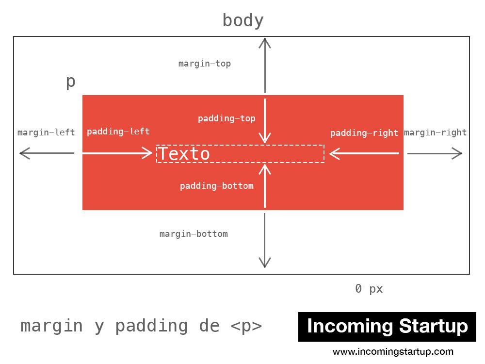 Esquema de margin y padding de un elemento HTML