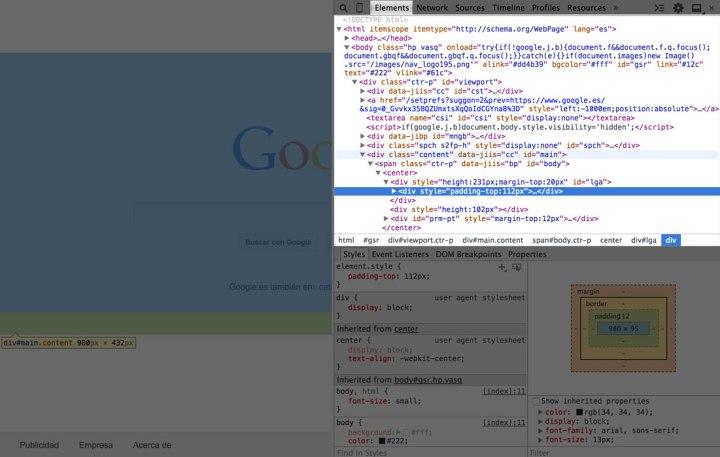Panel de Elements, donde podemos ver la semántica de la web.