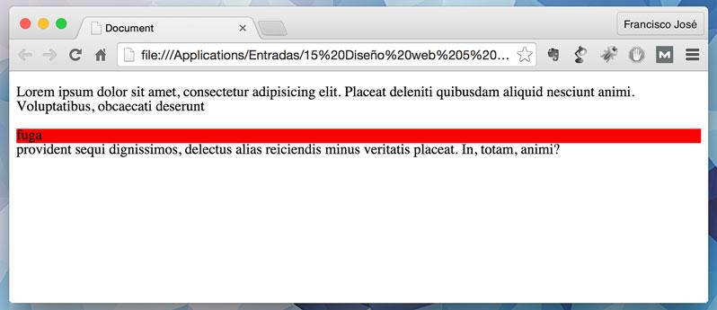 Nuestro texto se ha roto por un div con display block