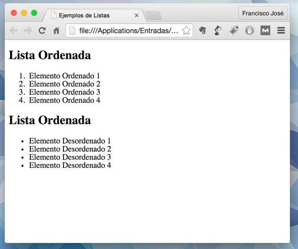 Nuestras dos listas en el navegador.