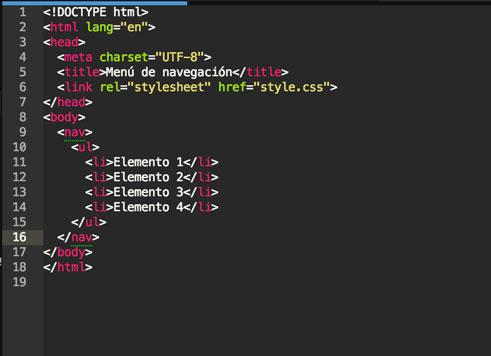 Nuestro html con el nav y la lista.