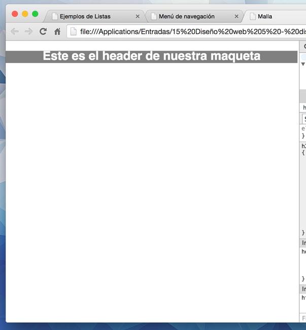 Nuestro header en el navegador