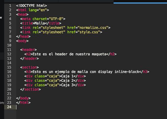 Nuestro html con el section y los bloques.