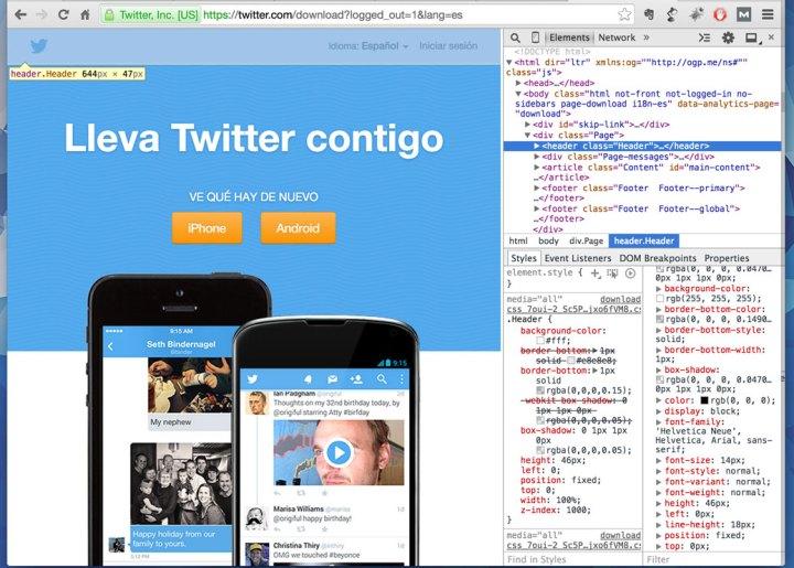 Inspeccionando la web de twitter