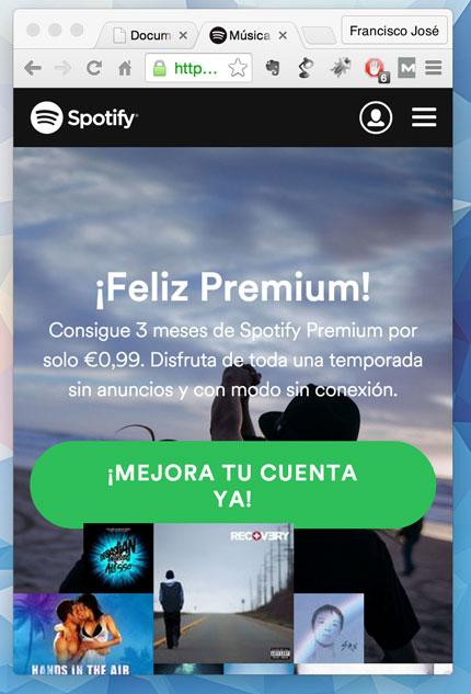 La home de Spotify, tiene elementos en extremos en su header: logo y login.