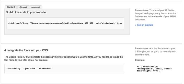 Código o snippet para enlazar la fuente al html