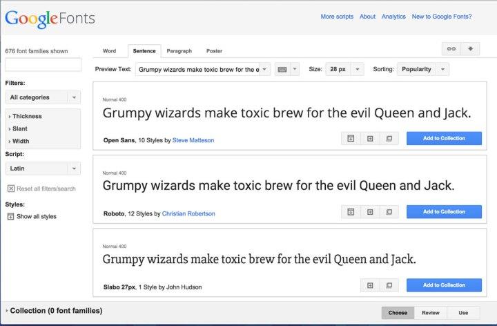 Home de Google Fonts