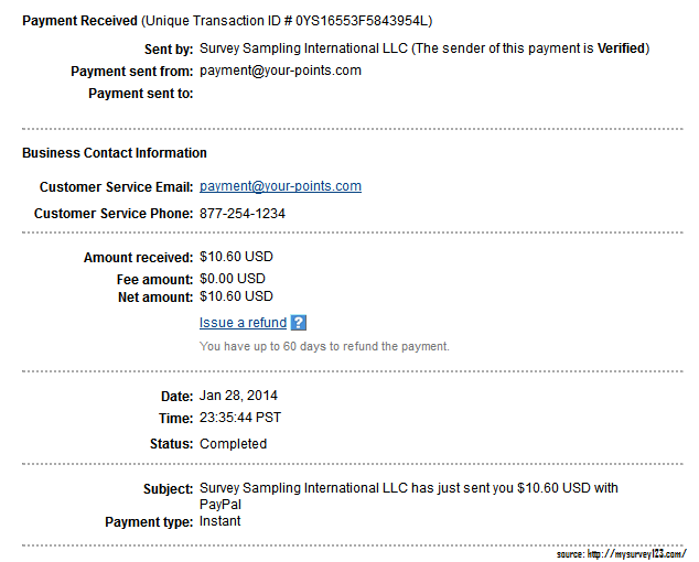 OpinionOutpost Payment proof