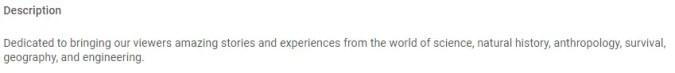 Youtube Channel Description Example